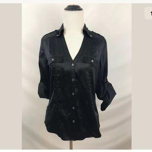 White House Black Market Silk Button Down Shirt